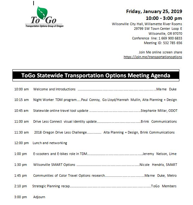 Click here for the 1/25 Wilsonville Transportation Options Statewide Meeting Agenda